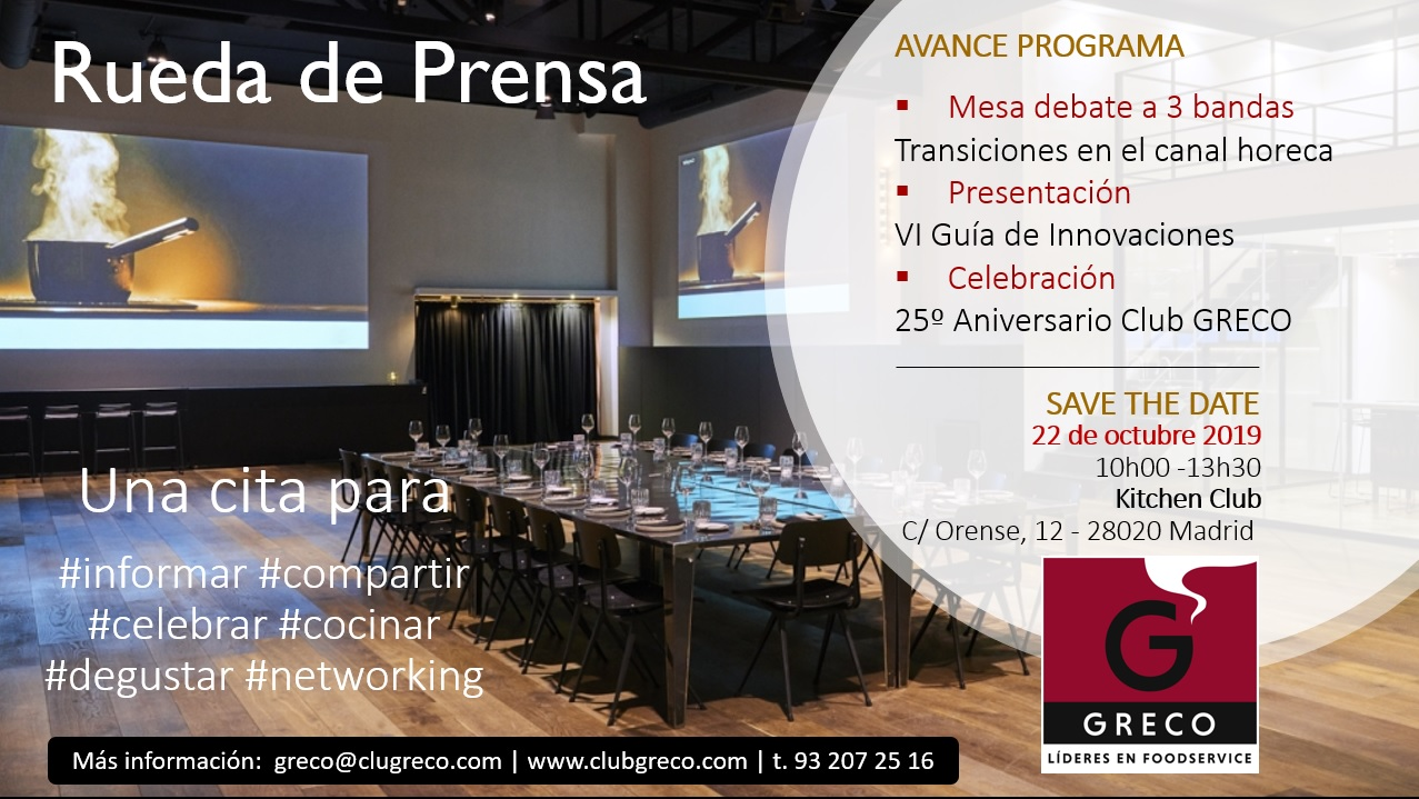 Save the Date: 22 octubre 2019, Madrid